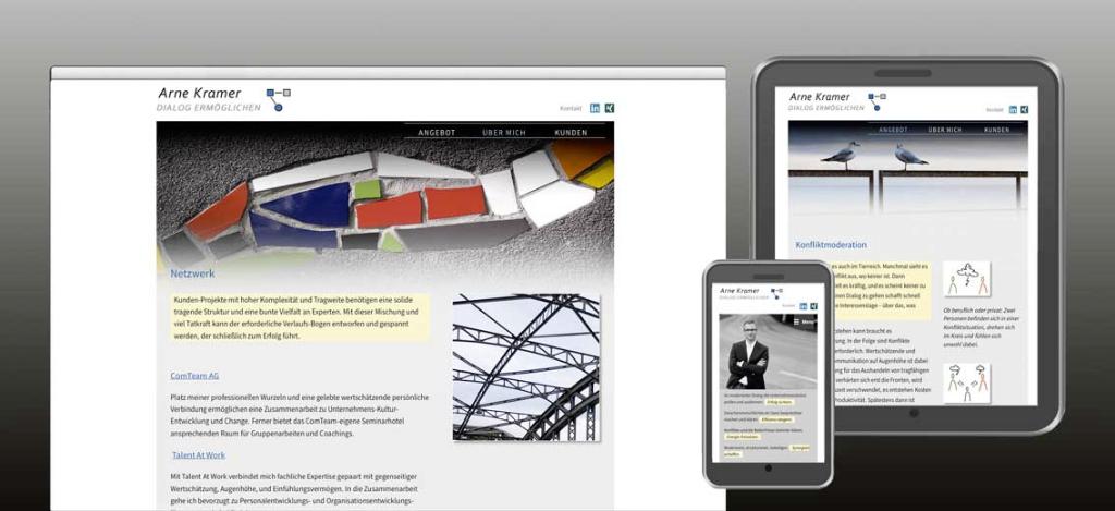 """Die Programmierung ist mit einem HTML-Editor """"responsive"""" aufgebaut – mit unterschiedlichem Design für PC, Tablet und Smartphone."""